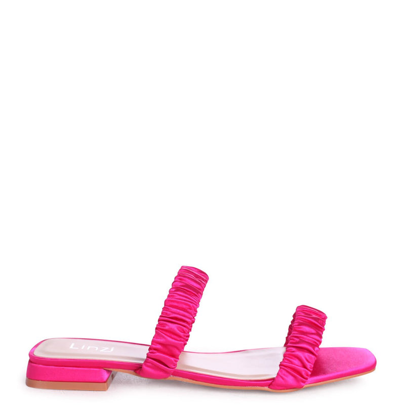 LIZZIE - Hot Pink Satin Slip On Mule With Double Gathered Front Straps