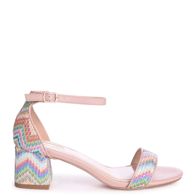 SOCIALITE - Multi Coloured Aztec Pattern Barely There Block Heeled Sandal