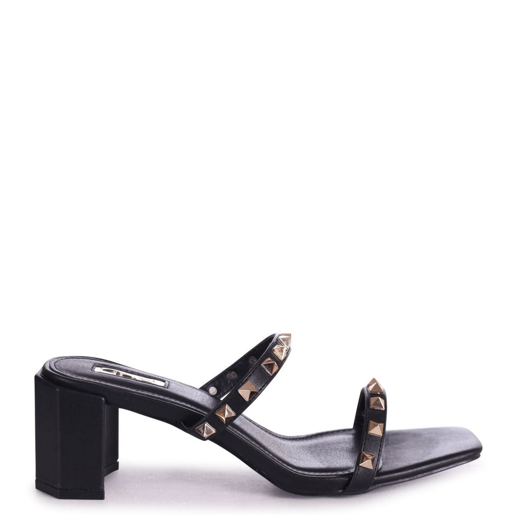 MILLIONAIRESS - Black Square Toe Mule With Studded Double Front Strap