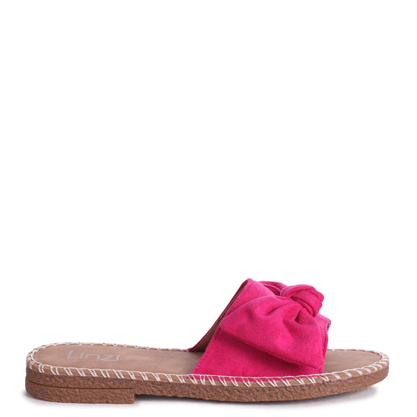 DETROIT - How Pink Suede Slip On Slider With Large Bow Front Strap