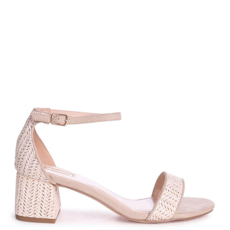 SOCIALITE - Beige All Over Raffia Barely There Block Heeled Sandal
