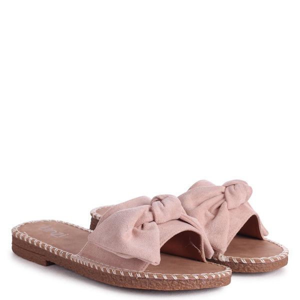 DETROIT - Beige Suede Slip On Slider With Large Bow Front Strap