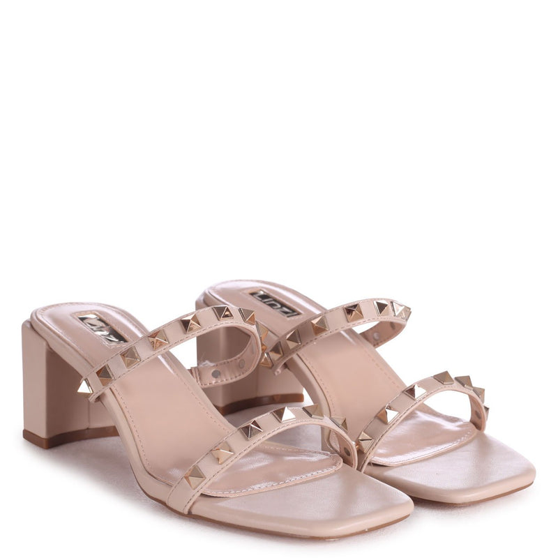 MILLIONAIRESS - Nude Square Toe Mule With Studded Double Front Strap