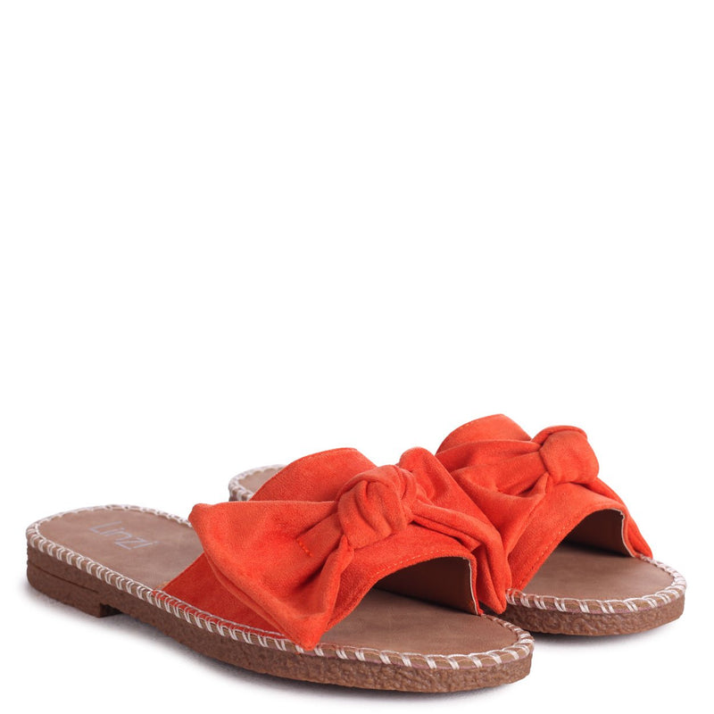 DETROIT - Orange Suede Slip On Slider With Large Bow Front Strap