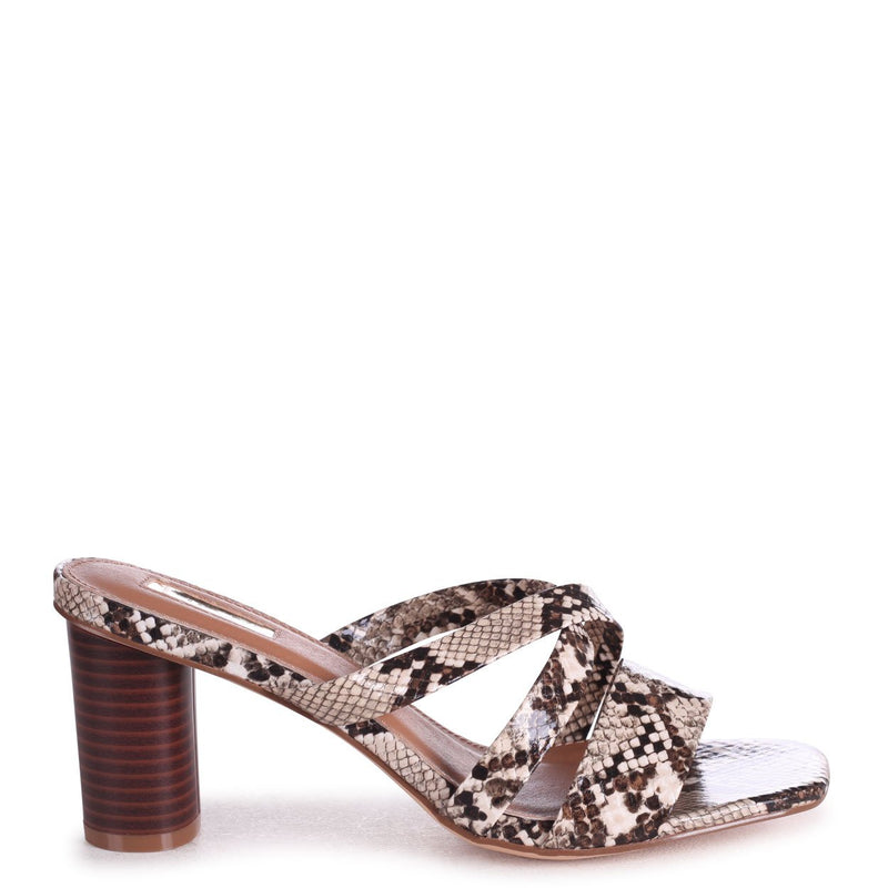 SORRY NOT SORRY - Snake Slip On Mule With Multiple Front Straps & Stacked Cylinder Heel