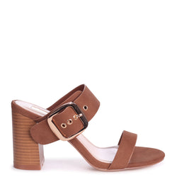 MADAME - Tan Nubuck Mule With Giant Buckle Detail And Stacked Heel