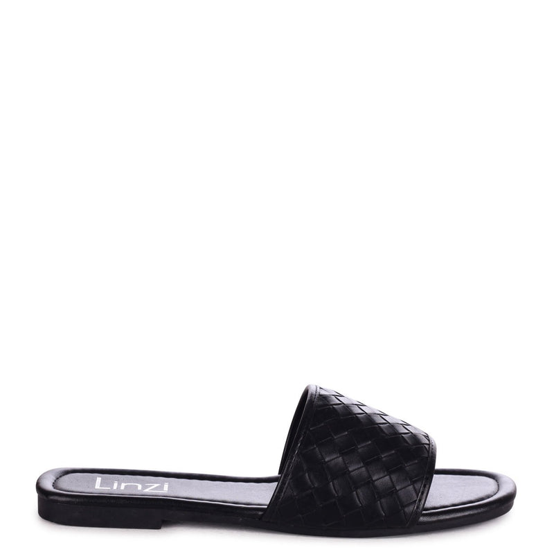 MOTIVE - Black Faux Leather Woven Slider