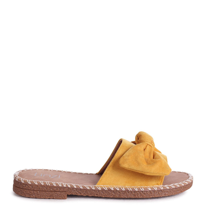 DETROIT - Yellow Suede Slip On Slider With Large Bow Front Strap