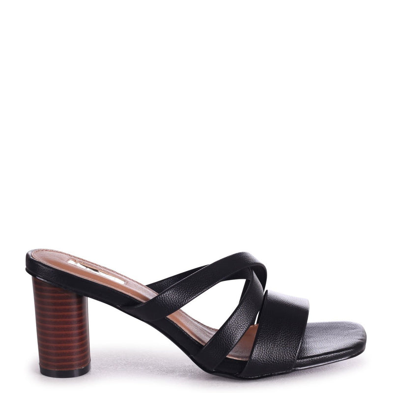 SORRY NOT SORRY - Black Slip On Mule With Multiple Front Straps & Stacked Cylinder Heel