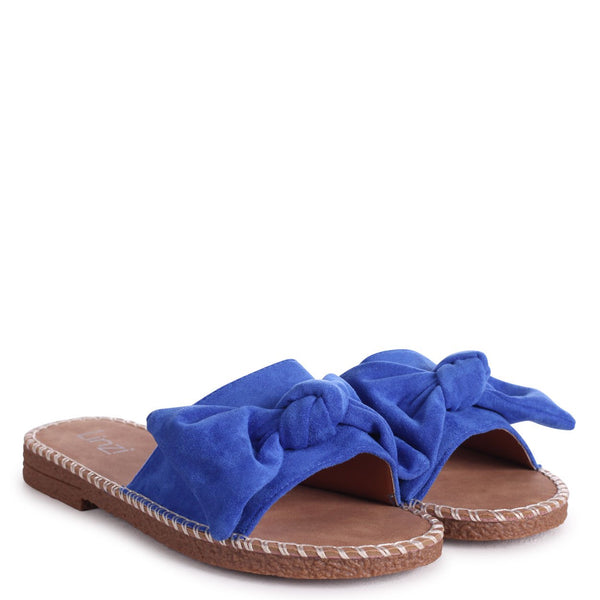 DETROIT - Blue Suede Slip On Slider With Large Bow Front Strap