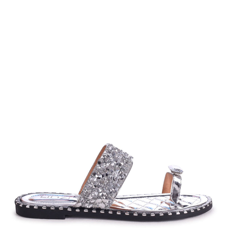 CUPCAKE - Silver Heavily Embellished Sandal With Large Diamante Toe Strap