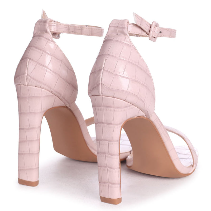CHICAGO - Nude Croc Nappa Square Toe Barely There Heel
