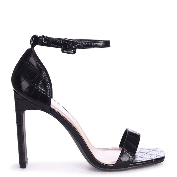 CHICAGO - Black Croc Nappa Square Toe Barely There Heel