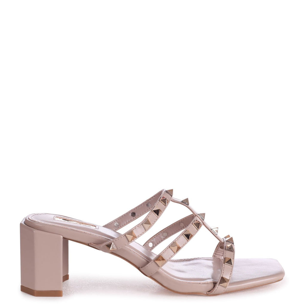 ROYALTY - Taupe Square Toe Mule With Studded Gladiator Front Strap