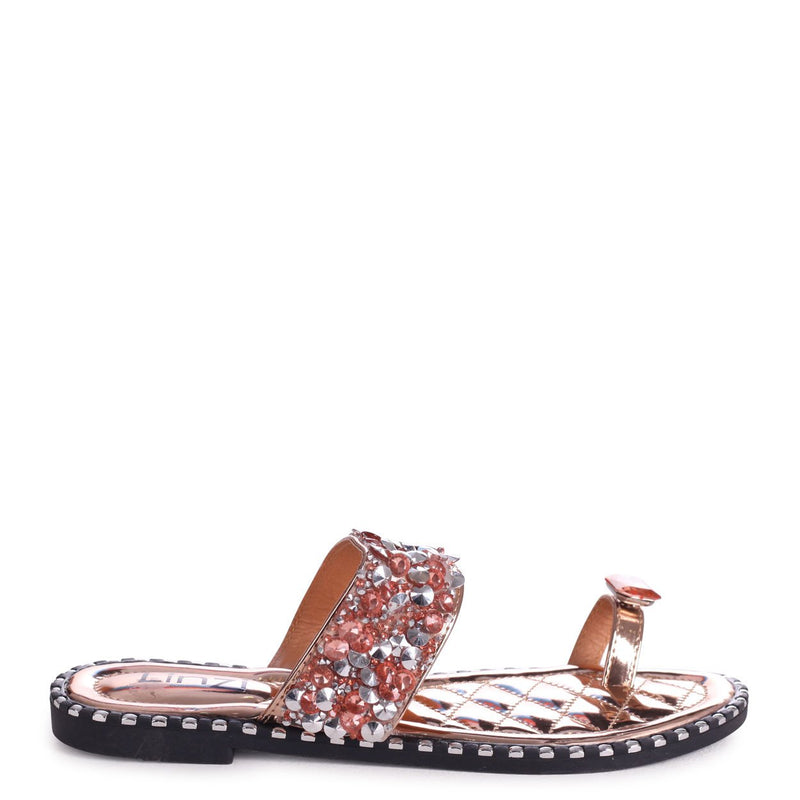 CUPCAKE - Rose Gold Heavily Embellished Sandal With Large Diamante Toe Strap
