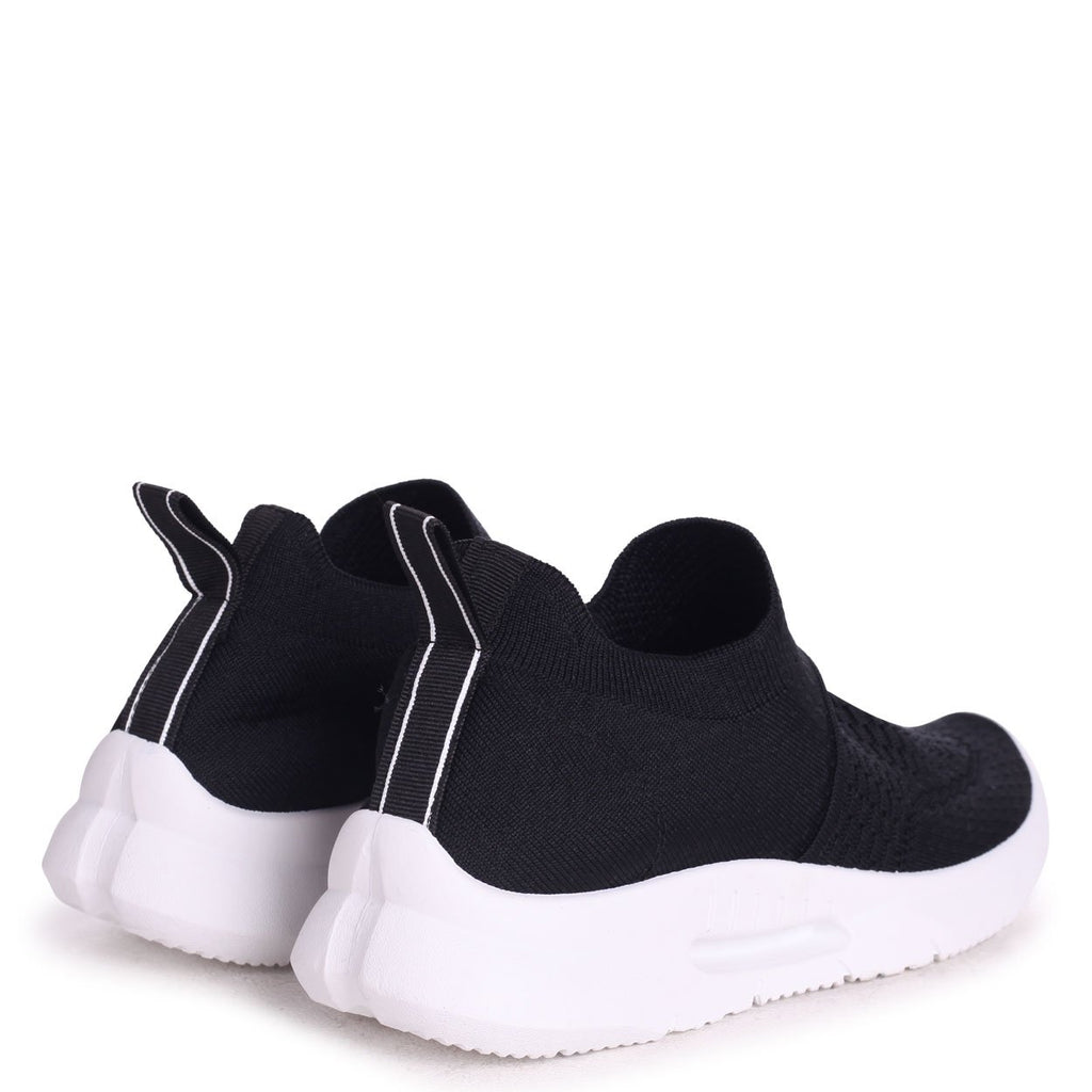 FLY - Black Sock Trainer With White Rubber Sole
