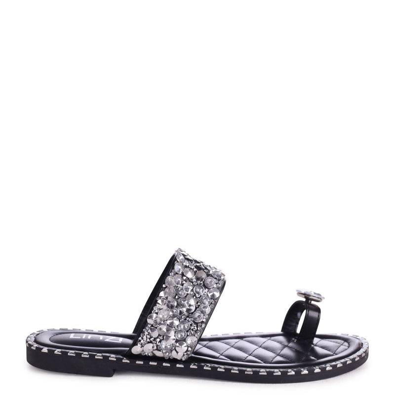 CUPCAKE - Black Heavily Embellished Sandal With Large Diamante Toe Strap
