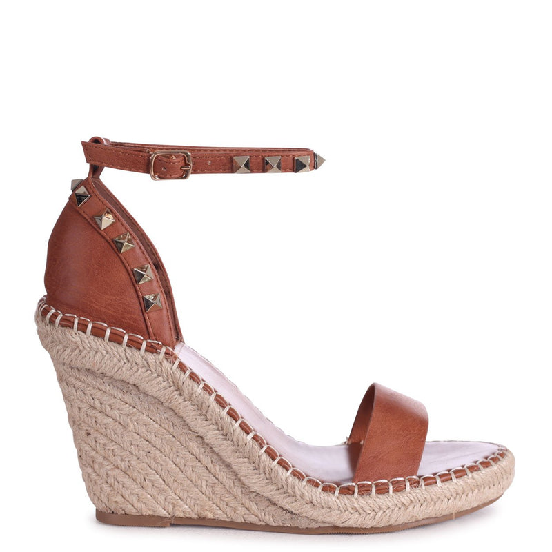 PROSECCO - Tan Espadrille Wedge With Studded Detail