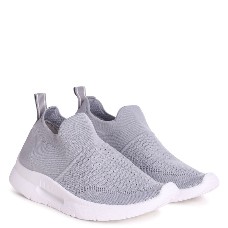FLY - Grey Sock Trainer With White Rubber Sole