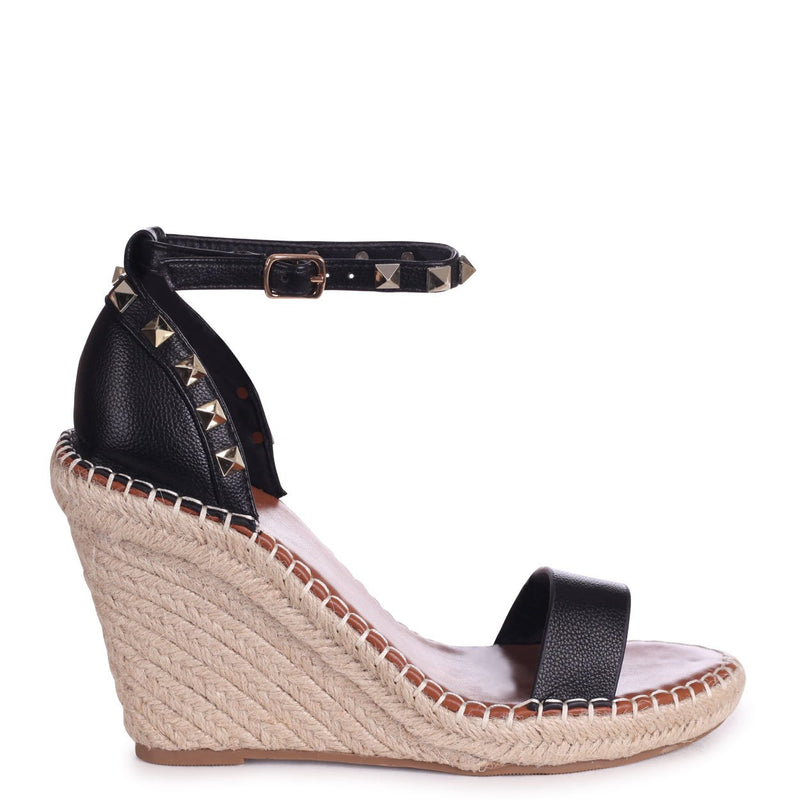 PROSECCO - Black Espadrille Wedge With Studded Detail