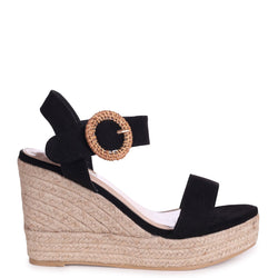 NEMESIS - Black Suede Espadrille Wedge With Giant Buckle Detail