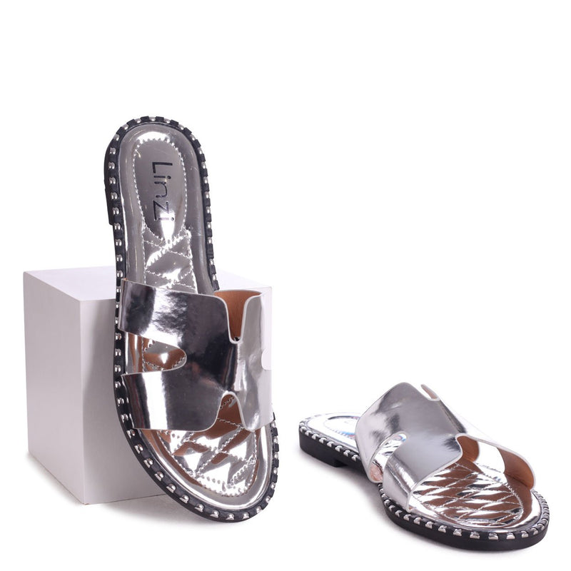 PETAL - Silver Slip On Slider With Link Shaped Front Strap & Studded Trim