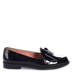 JAMIMA - Black Patent Classic Slip On Loafer With Tassel Detail