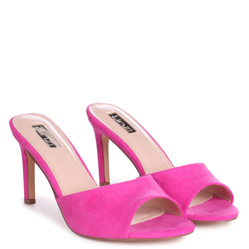 LOVE STORY - Hot Pink Suede Mule With Stiletto Heel