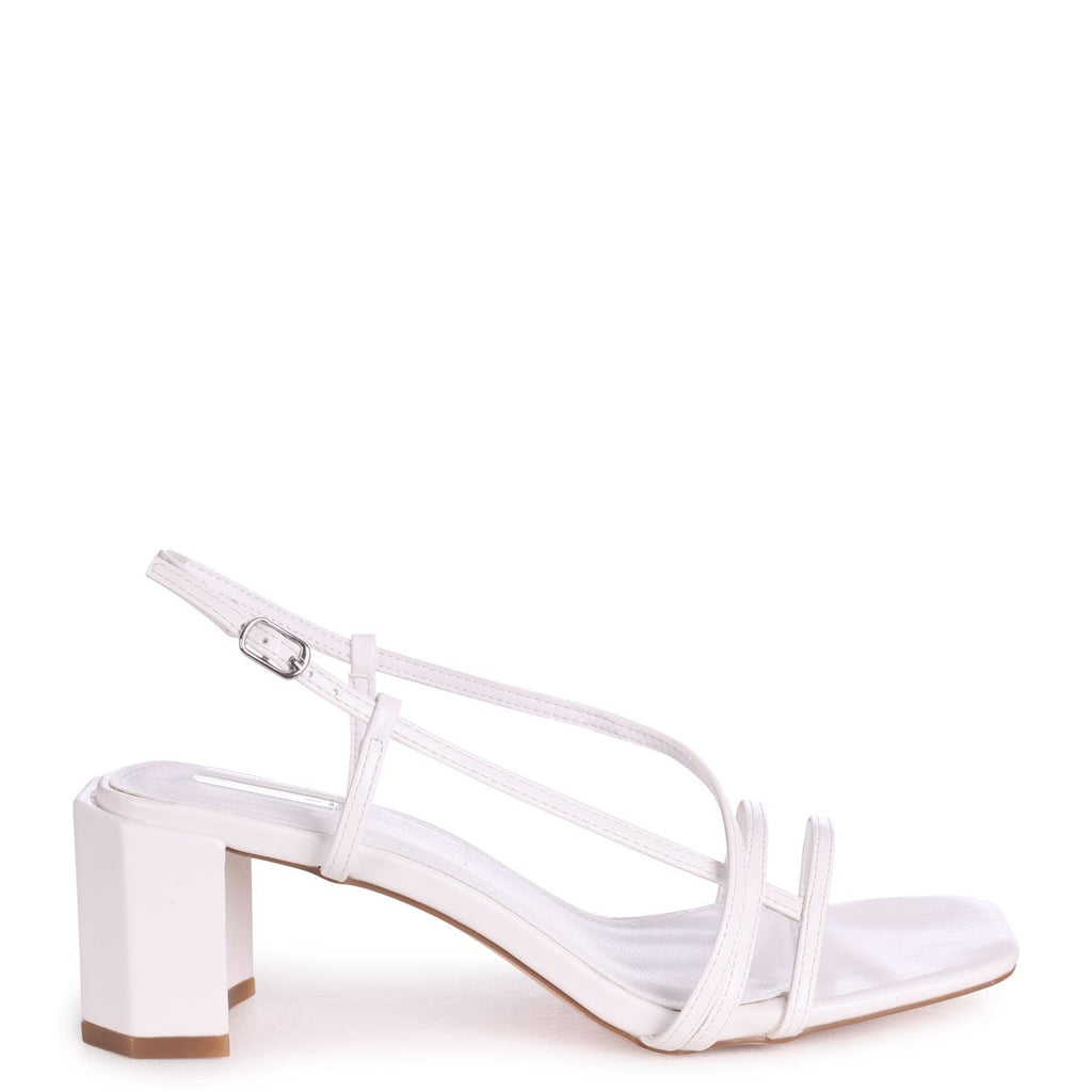TOYKO - White Strappy Block Heeled Sandal