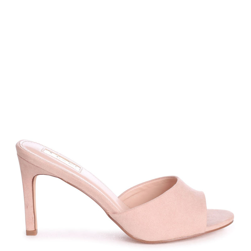 LOVE STORY - Nude Suede Mule With Stiletto Heel