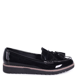 VICKY - Black Patent Classic Slip On Loafer With Tassel Detail
