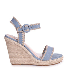 ANNABEL - Blue Suede Espadrille Wedge With Macrame Trim