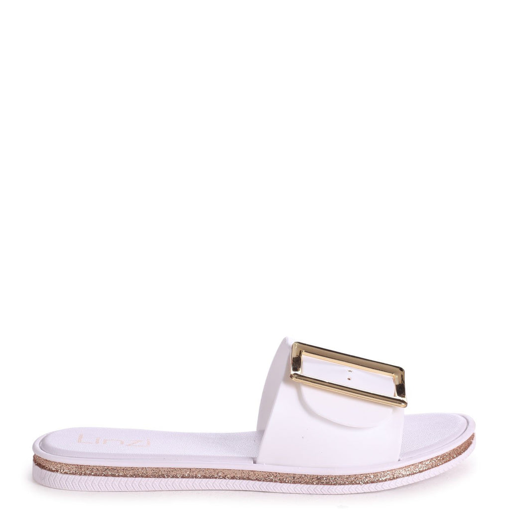 ALMOST FAMOUS - White Slip On Slider With Large Buckle Detail & Glitter Trim