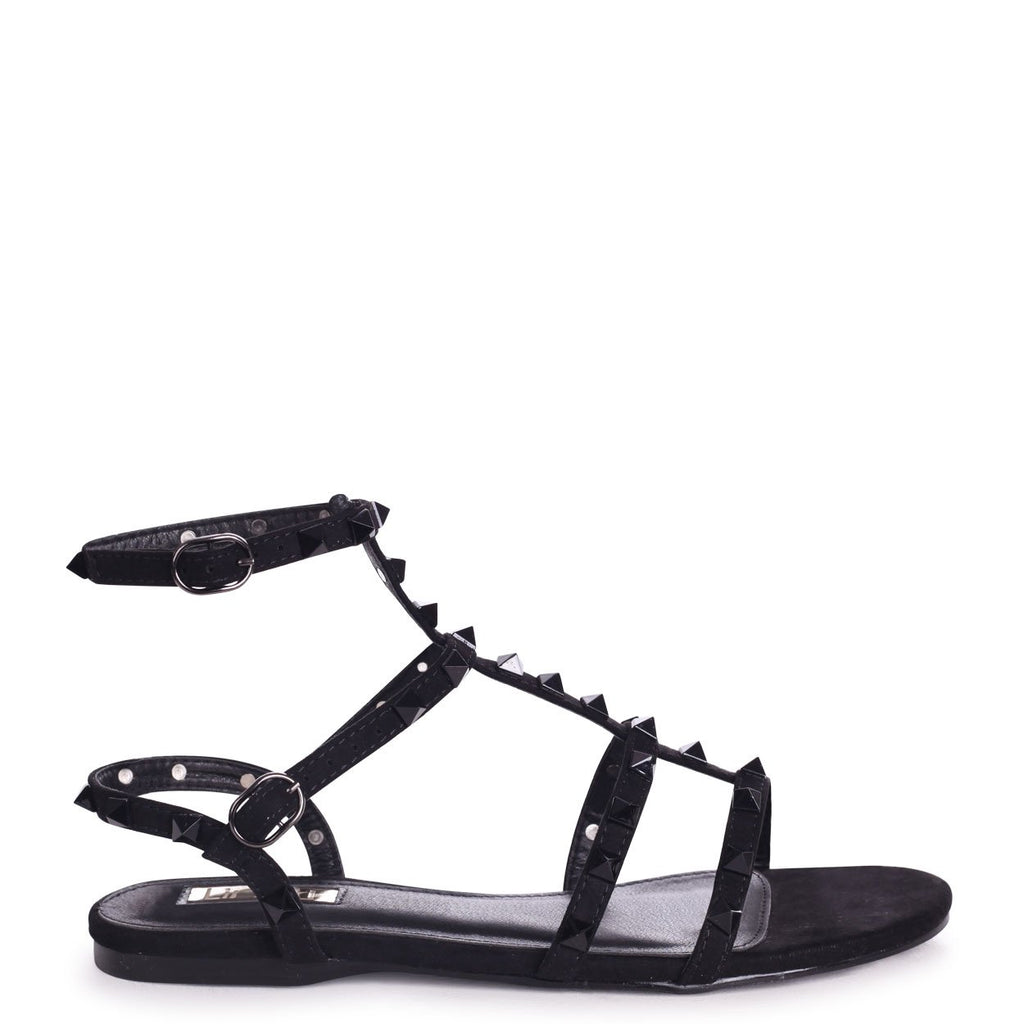 VIOLET - Black Suede All Over Studded Gladiator Sandal