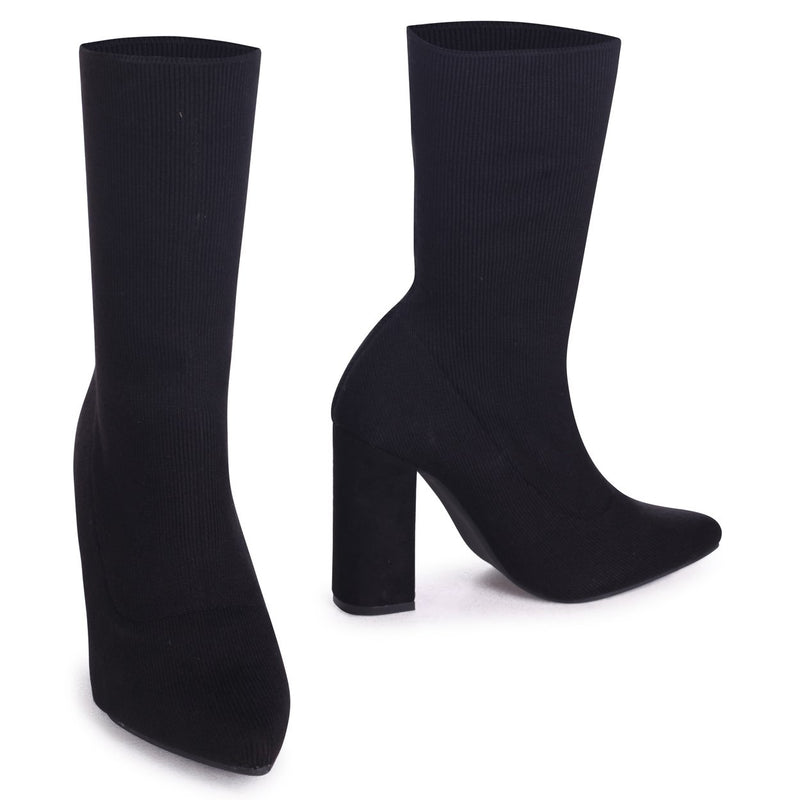 ANEESA - Black Knitted Pull On Sock Boot With Block Heel