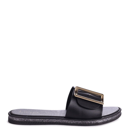 INFINITY - Black Jelly Sandal With Diamante Toe Post & Trim