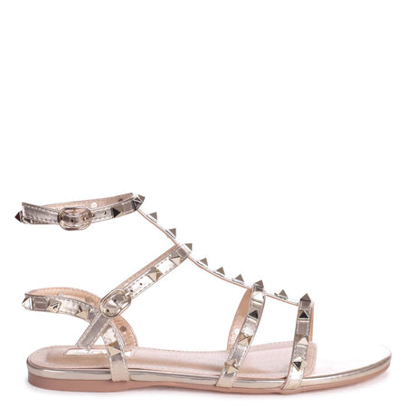 CHLOE - Rose Gold & Silver Metallic Platform Heels With Double Crossover Ankle Straps