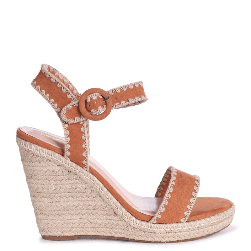 ANNABEL - Tan Suede Espadrille Wedge With Macrame Trim