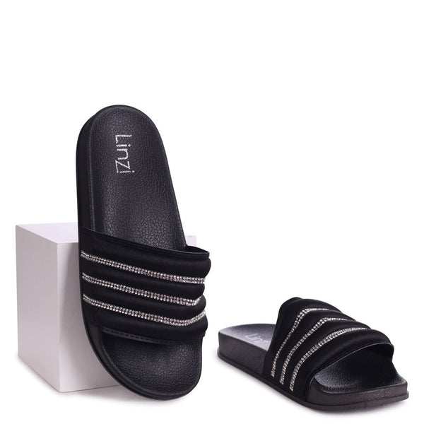 ROCCO - Black Slip On Slider With Padded & Diamante Front Strap
