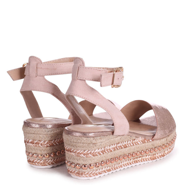 JACINTA - Rose Gold & Nude Plaited And Studded Espadrille Flatform