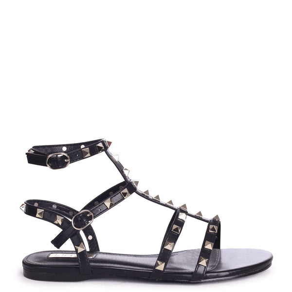 VIOLET - Black All Over Studded Gladiator Sandal