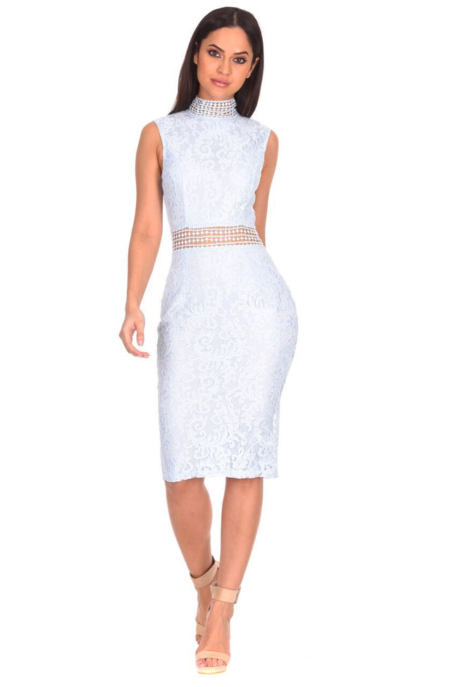Ice Blue Lace Midi Dress