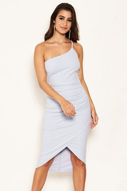 Ice Blue Single Strap Ruched Split Dress