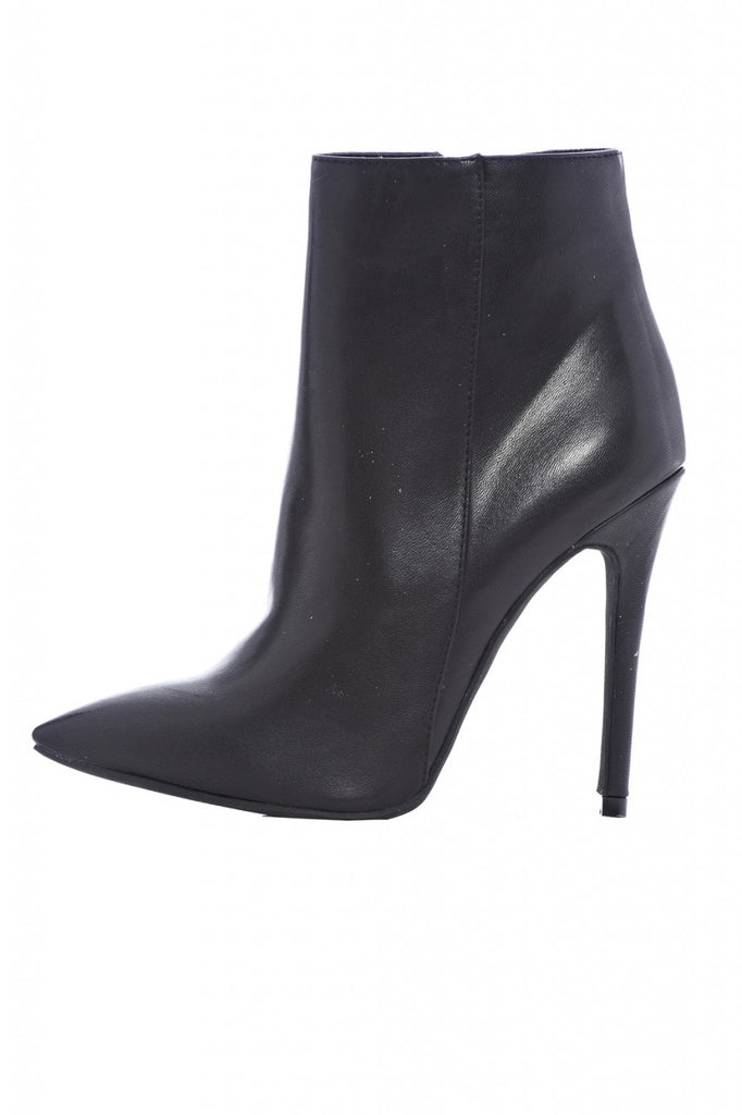 Ankle  Plain Pointy Heeled Boot
