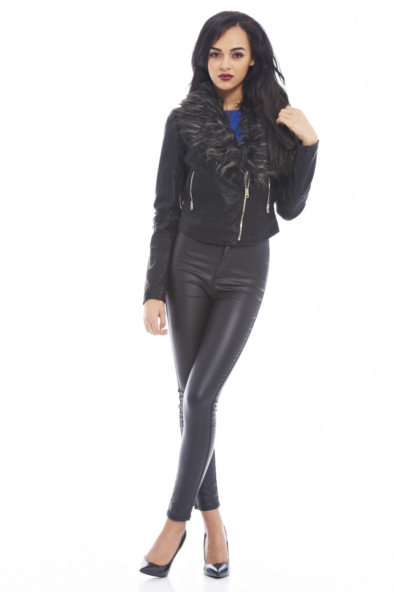 Leather Look Fur Collar Jacket