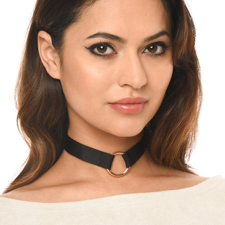 Black Material With Gold Ring Choker