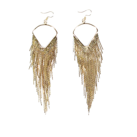 Gold Tassel Drop Earrings