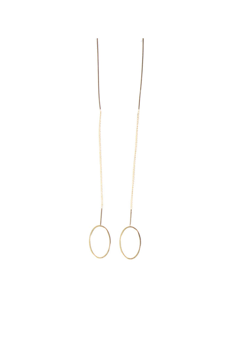 Gold Chain Oval Earrings