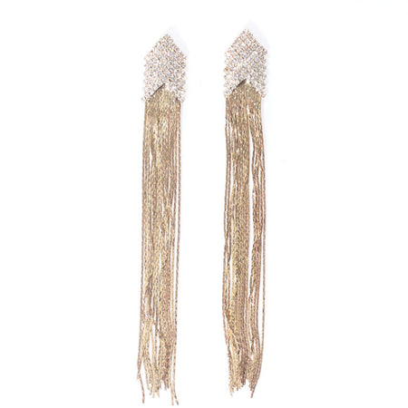 Gold Diamante Tassel Earrings