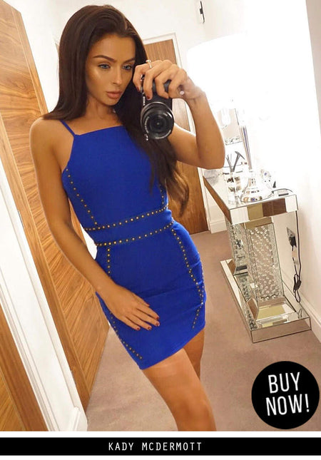 Blue Halter Lace Mini Dress
